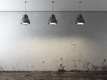 Room with ceiling lamps and grunge wall. 3d render Stock Photography