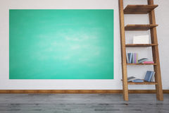 Room with chalkboard and books. Front view of interior with empty green chalkboard and brown ladder with books. Mock up. Education concept. 3D Rendering Royalty Free Stock Image
