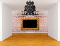 Room with chandelier and frame Stock Photography