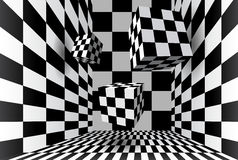 Room with checkered cubes Royalty Free Stock Photo