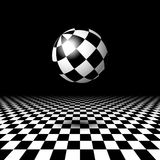 Room with checkered floor and ball. Empty space with checkered floor and ball Royalty Free Stock Photos