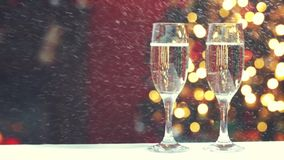 Room Christmas. Room decorated for Christmas with two glasses of champagne stock footage