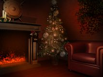 Room with Christmas decorations. Room with Christmas fireplace and candles Stock Image