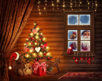 Room with christmas tree. And presents royalty free stock image