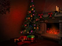 Room with christmas tree. Room with fireplace, christmas tree and gift boxes Royalty Free Stock Image