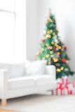 Room with christmas tree and presents background. Holidays, celebration and home concept - living room with christmas tree and presents background royalty free stock image