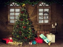 Room with a Christmas tree and presents vector illustration