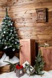 Room Christmas Tree, Xmas Home Interior Decoration, Toys stock photo