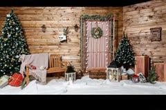 Room Christmas Tree, Xmas Home Interior Decoration, Toys royalty free stock photo