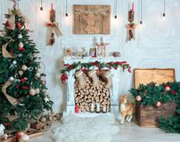 Beautiful holiday decorated room with Christmas tree, fireplace. Room, Christmas Tree, Xmas Home Interior Decoration, Toys, Christmas decorations, Christmas Royalty Free Stock Image