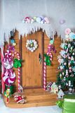 Christmas photo zone in vintage style. Room Christmas Tree, Xmas Home Interior Decoration, Toys, Christmas decorations, Christmas decorations, photo zone Royalty Free Stock Image