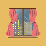 Room with a city view and skyscrapers. Window, vector, view, office, home, illustration, interior, design, frame, background, modern, glass, windows, building Royalty Free Stock Images