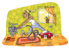 The room cleaning royalty free illustration