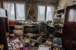 room with clutter in house stock photos