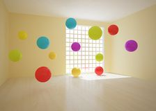 Room with colored balls Royalty Free Stock Photos