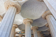 Room of 100 Columns in Gaudi's Parc Guell in Barcelona Royalty Free Stock Images