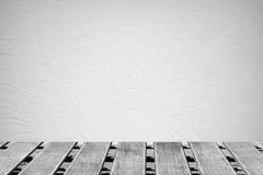 Room with a concrete wall and wooden floors Stock Photo