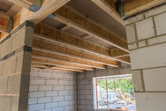 Room construction showing joists truss Stock Photography