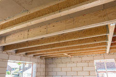 Room construction showing joists truss Stock Images