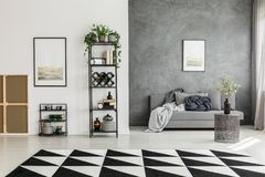 Room with contrast colors walls. Black and white carpet in spacious living room with posters, grey sofa and contrast colors walls royalty free stock image