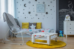 Room with cosmic motives Royalty Free Stock Images