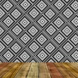 Room with cube abstract wall nad wooden floor. Background Stock Photography