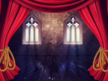 Room with Curtains and Old Window Royalty Free Stock Photography