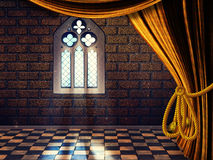 Room with Curtains and Old Window Royalty Free Stock Image