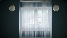 Room with dark wall interior white curtains on window stock image