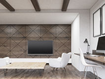 Room with dark wooden walls. Room with dark wood wall. TV set is hanging on it. Two white armchairs are surrounding low table. Concept of watching TV. 3d Stock Photos
