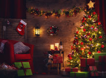 Room decorated for Christmas. Happy Holiday! A beautiful living room decorated for Christmas stock photo