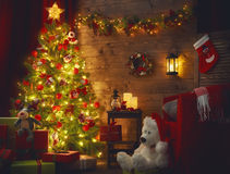 Room decorated for Christmas Royalty Free Stock Images