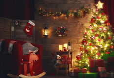 Room decorated for Christmas Stock Photos
