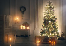 Room decorated for Christmas Stock Image