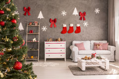 Room with decorated Christmas tree Royalty Free Stock Photography