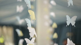 Room decoration paper butterflies stock footage