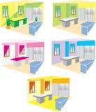 Room design. Series of color room design Stock Photos