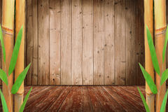 Room design with bamboo cane and wooden floor Royalty Free Stock Image