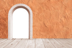 Room design with mediterranean facade, wooden floor and arched d Royalty Free Stock Image
