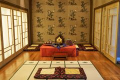 Room designed with Korea`s traditional decorations and foods for ceremony of newly wed couples and their families. stock photos