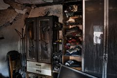Room destroyed after fire Stock Photo