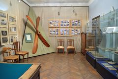 A room devoted to aviation history in the Museum-estate of the a. ST.PETERSBURG, RUSSIA - MARCH 03, 2017: A room devoted to aviation history in the Museum-estate Stock Photo
