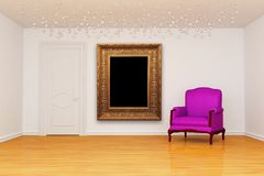 Room with door and chair with frame Royalty Free Stock Photos