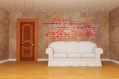 Room with door, couch and splash hole Royalty Free Stock Photos