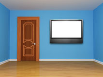 Room with door and LCD tv Royalty Free Stock Photo