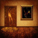 A room with a door and a painting. Abstract background with a picture of the door and in warm shades of yellow Royalty Free Stock Photos