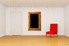 Room with door, red chair and frame Royalty Free Stock Photos