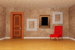 Room with door, red chair and picture frames. Empty room with door, red chair and three picture frames Royalty Free Stock Images