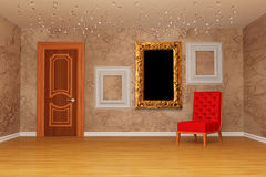 Room with door, red chair and three picture Stock Image