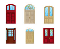 Room door set of icons, interior entrance design Royalty Free Stock Images
